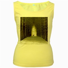 Trees Nature Snow Deer Landscape Winter Women s Yellow Tank Top