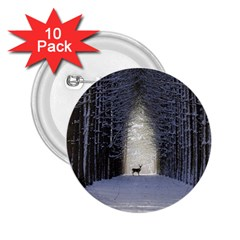 Trees Nature Snow Deer Landscape Winter 2 25  Buttons (10 Pack)  by Alisyart