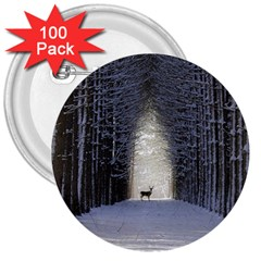 Trees Nature Snow Deer Landscape Winter 3  Buttons (100 Pack)