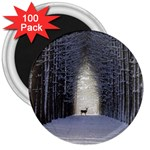 Trees Nature Snow Deer Landscape Winter 3  Magnets (100 pack) Front