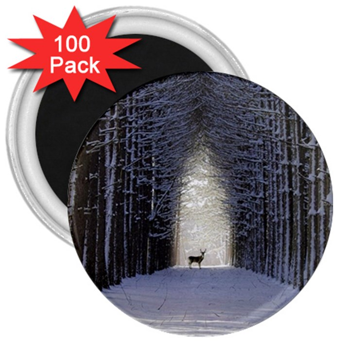 Trees Nature Snow Deer Landscape Winter 3  Magnets (100 pack)