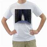 Trees Nature Snow Deer Landscape Winter Men s T-Shirt (White) (Two Sided) Front