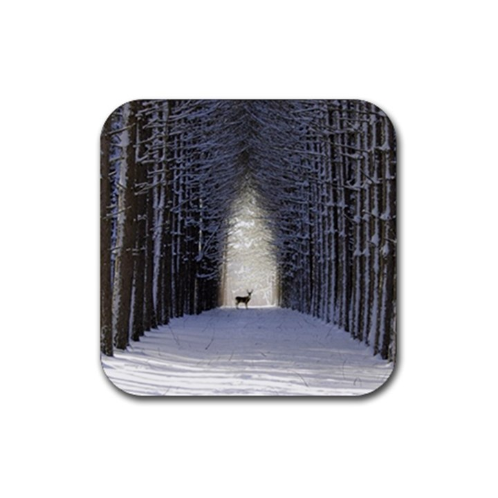 Trees Nature Snow Deer Landscape Winter Rubber Coaster (Square)