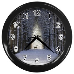 Trees Nature Snow Deer Landscape Winter Wall Clock (black)