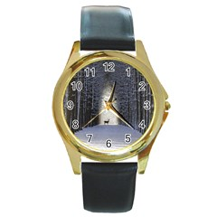 Trees Nature Snow Deer Landscape Winter Round Gold Metal Watch