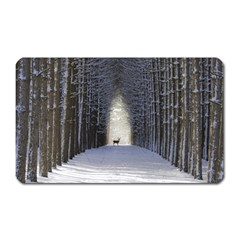 Trees Nature Snow Deer Landscape Winter Magnet (rectangular)