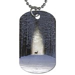 Trees Nature Snow Deer Landscape Winter Dog Tag (One Side) Front