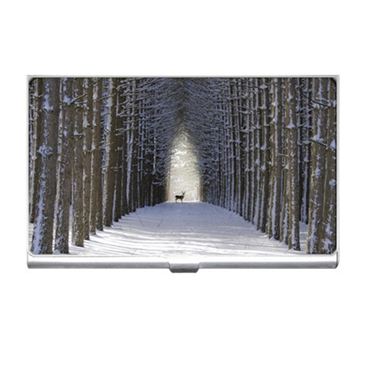 Trees Nature Snow Deer Landscape Winter Business Card Holder