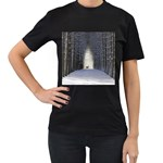 Trees Nature Snow Deer Landscape Winter Women s T-Shirt (Black) (Two Sided) Front