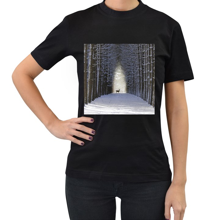 Trees Nature Snow Deer Landscape Winter Women s T-Shirt (Black) (Two Sided)