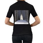 Trees Nature Snow Deer Landscape Winter Women s T-Shirt (Black) (Two Sided) Back
