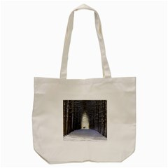 Trees Nature Snow Deer Landscape Winter Tote Bag (cream)