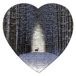 Trees Nature Snow Deer Landscape Winter Jigsaw Puzzle (Heart) Front