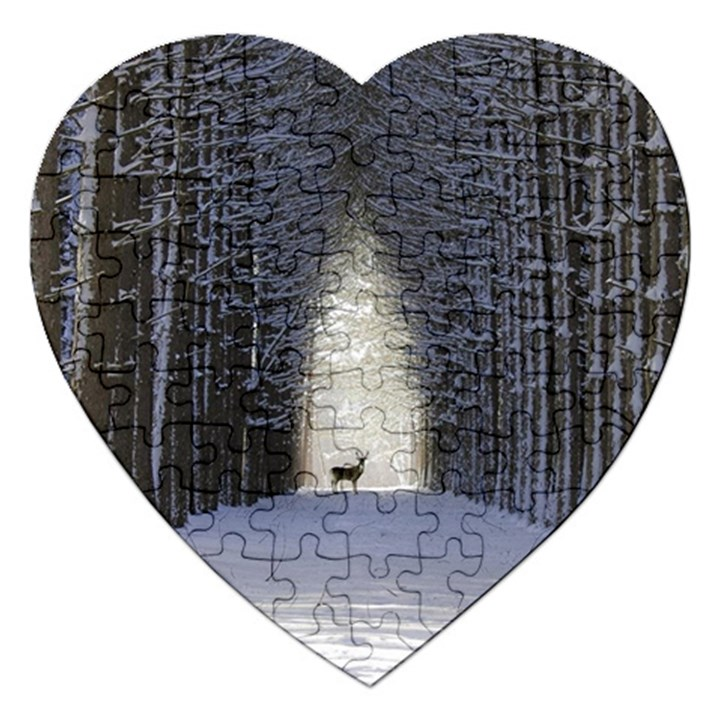 Trees Nature Snow Deer Landscape Winter Jigsaw Puzzle (Heart)