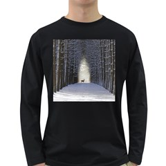 Trees Nature Snow Deer Landscape Winter Long Sleeve Dark T Shirt