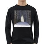 Trees Nature Snow Deer Landscape Winter Long Sleeve Dark T-Shirt Front
