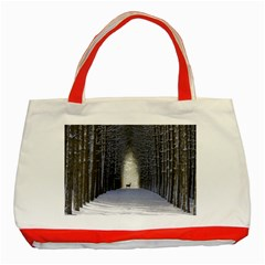 Trees Nature Snow Deer Landscape Winter Classic Tote Bag (red)