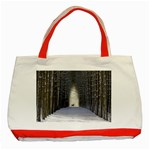 Trees Nature Snow Deer Landscape Winter Classic Tote Bag (Red) Front