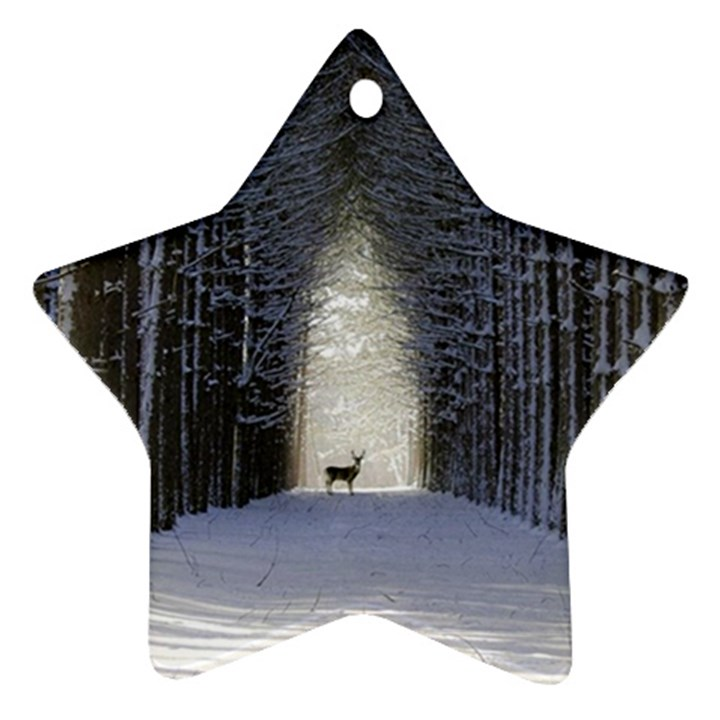 Trees Nature Snow Deer Landscape Winter Star Ornament (Two Sides)