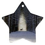 Trees Nature Snow Deer Landscape Winter Star Ornament (Two Sides) Back