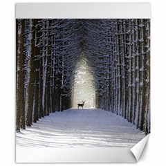 Trees Nature Snow Deer Landscape Winter Canvas 8  X 10