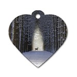 Trees Nature Snow Deer Landscape Winter Dog Tag Heart (One Side) Front