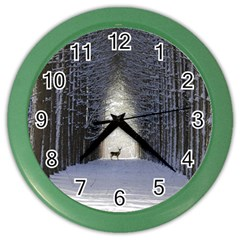 Trees Nature Snow Deer Landscape Winter Color Wall Clock