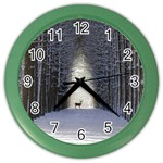 Trees Nature Snow Deer Landscape Winter Color Wall Clock Front