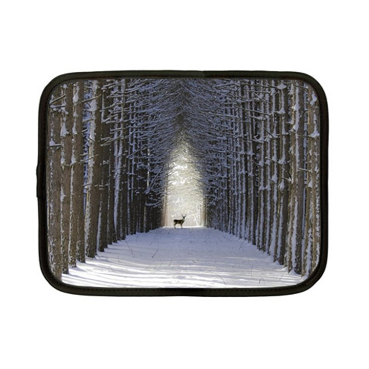 Trees Nature Snow Deer Landscape Winter Netbook Case (Small)