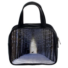 Trees Nature Snow Deer Landscape Winter Classic Handbag (two Sides) by Alisyart