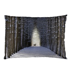 Trees Nature Snow Deer Landscape Winter Pillow Case