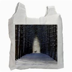 Trees Nature Snow Deer Landscape Winter Recycle Bag (one Side)