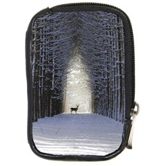 Trees Nature Snow Deer Landscape Winter Compact Camera Leather Case