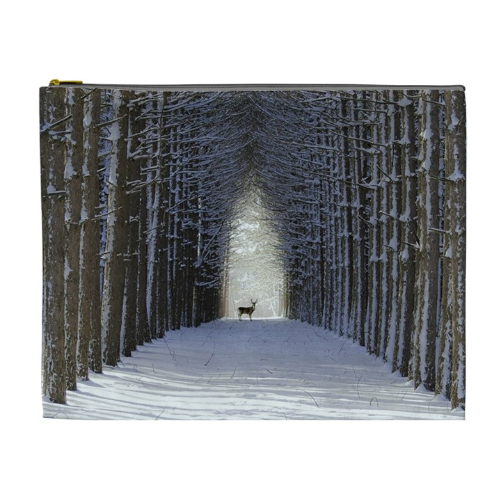 Trees Nature Snow Deer Landscape Winter Cosmetic Bag (XL)