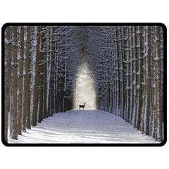 Trees Nature Snow Deer Landscape Winter Fleece Blanket (large)