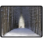 Trees Nature Snow Deer Landscape Winter Fleece Blanket (Large)  80 x60  Blanket Front