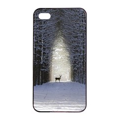 Trees Nature Snow Deer Landscape Winter Apple Iphone 4/4s Seamless Case (black) by Alisyart