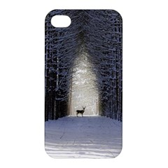 Trees Nature Snow Deer Landscape Winter Apple Iphone 4/4s Hardshell Case by Alisyart