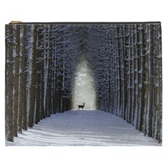 Trees Nature Snow Deer Landscape Winter Cosmetic Bag (xxxl)