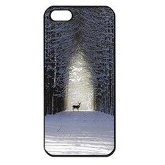 Trees Nature Snow Deer Landscape Winter Apple Iphone 5 Seamless Case (black)