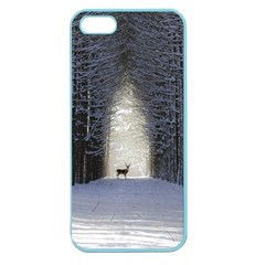Trees Nature Snow Deer Landscape Winter Apple Seamless Iphone 5 Case (color)