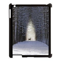 Trees Nature Snow Deer Landscape Winter Apple Ipad 3/4 Case (black)