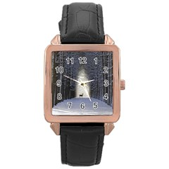 Trees Nature Snow Deer Landscape Winter Rose Gold Leather Watch