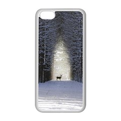 Trees Nature Snow Deer Landscape Winter Apple Iphone 5c Seamless Case (white)