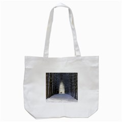 Trees Nature Snow Deer Landscape Winter Tote Bag (white)