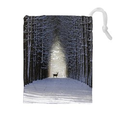 Trees Nature Snow Deer Landscape Winter Drawstring Pouch (xl)