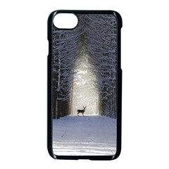 Trees Nature Snow Deer Landscape Winter Apple Iphone 8 Seamless Case (black) by Alisyart