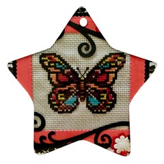 Cross Stitch Butterfly Ornament (star)
