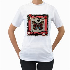 Cross Stitch Butterfly Women s T Shirt (white) (two Sided)