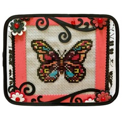 Cross Stitch Butterfly Netbook Case (xl) by DeneWestUK